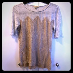 Tunic/tee with lace overlay
